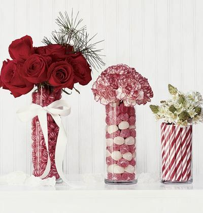 christmas flower centerpieces | Beautiful Christmas Centerpieces using candy and flowers in