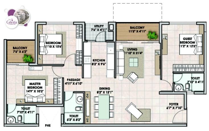 3 BHK Floor Plans