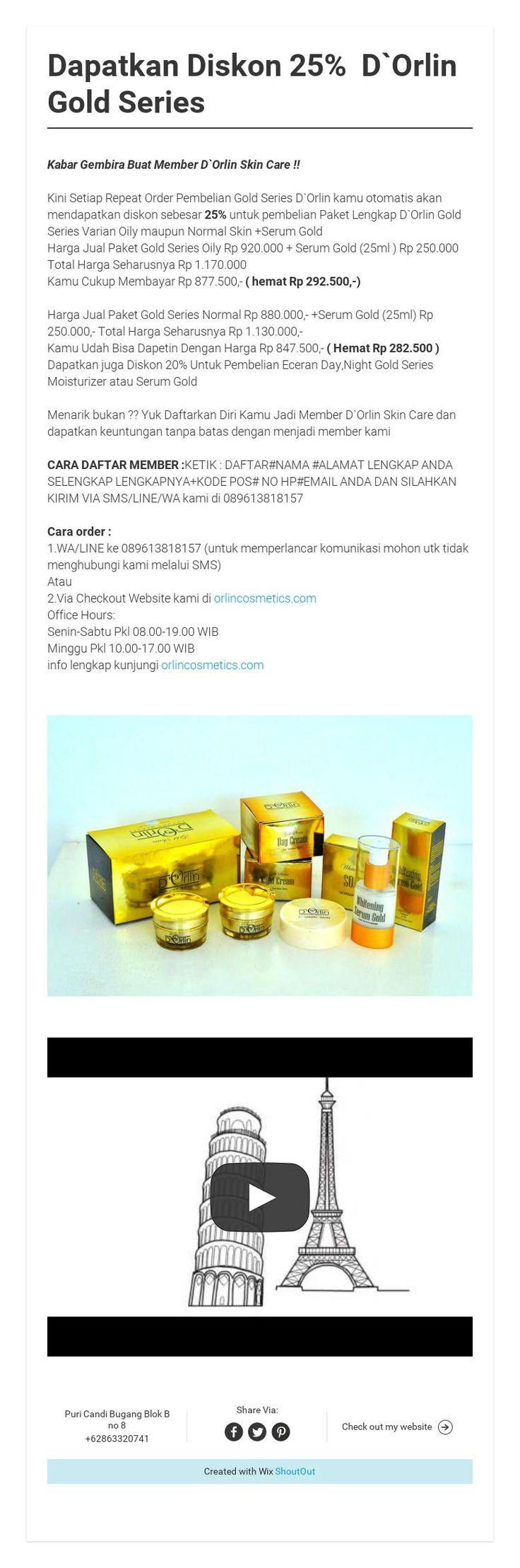 Dapatkan Diskon 25% D`Orlin Gold Series