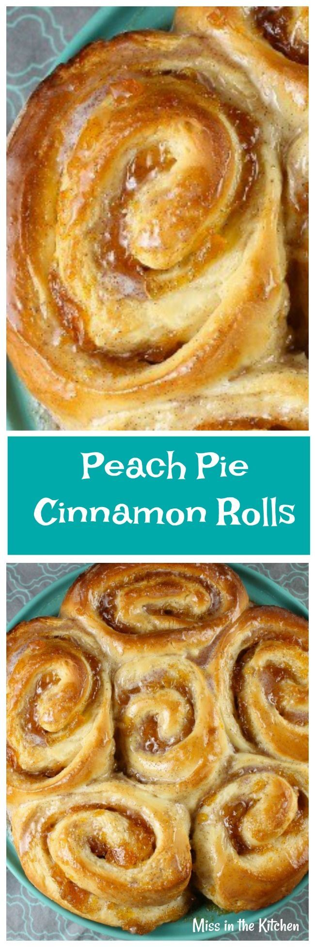 Peach Pie Cinnamon Rolls Recipe is the perfect morning treat for any day of the week. From MissintheKitchen.com #ad #redstaryeast #cinnamonrolls