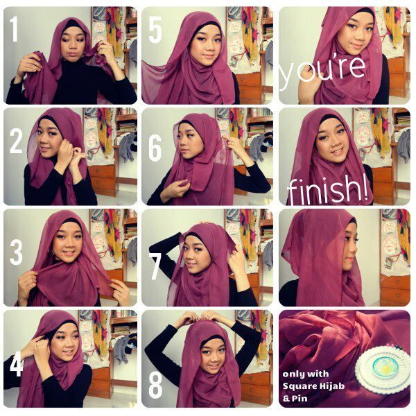 Only With Square Hijab & Pins Hijab Tutorial dafb08cc7e2988232293ef77748d6db3