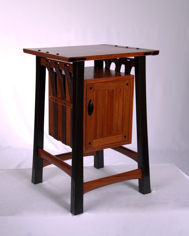 Suspension side table by Woodshrew, in mahogany and leather, on fine woodworking.com