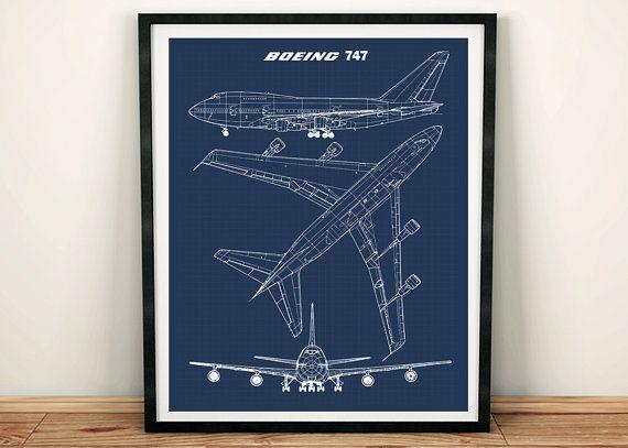 """747 blauwdruk Art, Jumbo Jet, blauwdruk kunst, Instant Download, Boeing 747 kunst aan de muur, afdrukbare kunst, blauwdruk, luchtvaart Decor, 8 x 10"""", 11 x 14"""" door SimplyDigitalArt"""