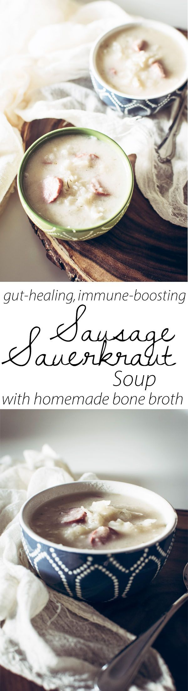 Gut healing Homemade bone broth combined with the power of nutrient dense and probiotic sauerkraut!