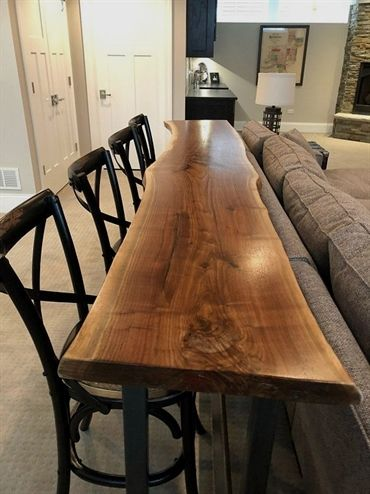 Sofa Table Home Bar Top Table Live Edge Bar Table Black