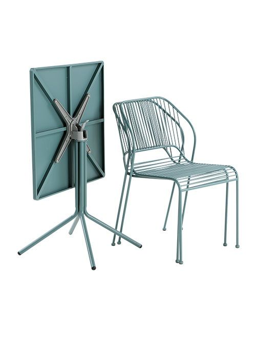 The Nazca Outdoor folding bistro table, in Graphite blue. A compact garden dining set. £129. MADE.COM