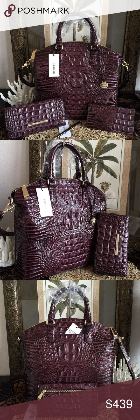 """GORGEOUS SETFIG MELBOURNE Brahmin Lg DUXBURY EXQUISITE! BRAHMIN LARGE DUXBURY DOME SATCHEL +MATCHING WALLET COMPLETE SET includes ATTACHED TAGS,STRAP,REGISTRATION CARDS, &DUST BAG Featured in 'Fig' Melbourne,Brahmin's signature croc-embossed leather in a rich &decadent plum hue. Embossed leather Carry your iPad along w/your favorite essentials. Zip top Removable strap Back slide in pocket 13"""" strap drop Gorgeous color!! WALLET:Removable checkbook cover, 11 credit card slots,back zip coin…"""