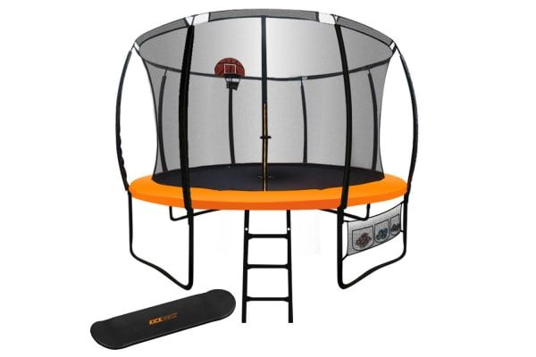 New 12ft Round Trampoline Basketball Set Safety Net Ladder Spring Pad Kickdeck Outdoor Play Equipment 12ft Trampoline Trampoline