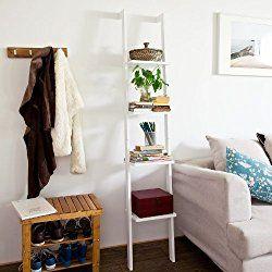 Haotian White Modern Wood Ladder Shelf, 4 Tiers Stand Shelf Wall Shelf ,Bookcase, FRG15-W