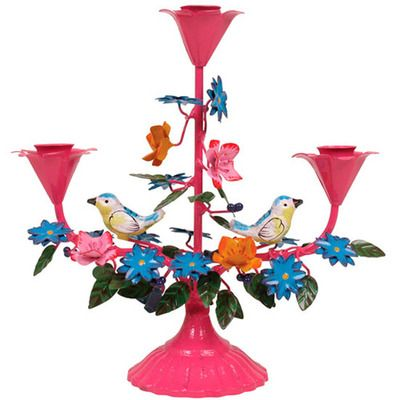 Enamel Bird Candleholders, love the colors!