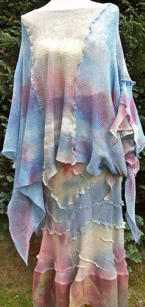 Ekskluzywny strój z lnu ze zpódnicą   eBay