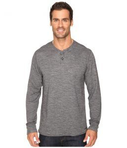 Hot Chillys Wool Double Layer Henley (Charcoal Heather) Men's Clothing