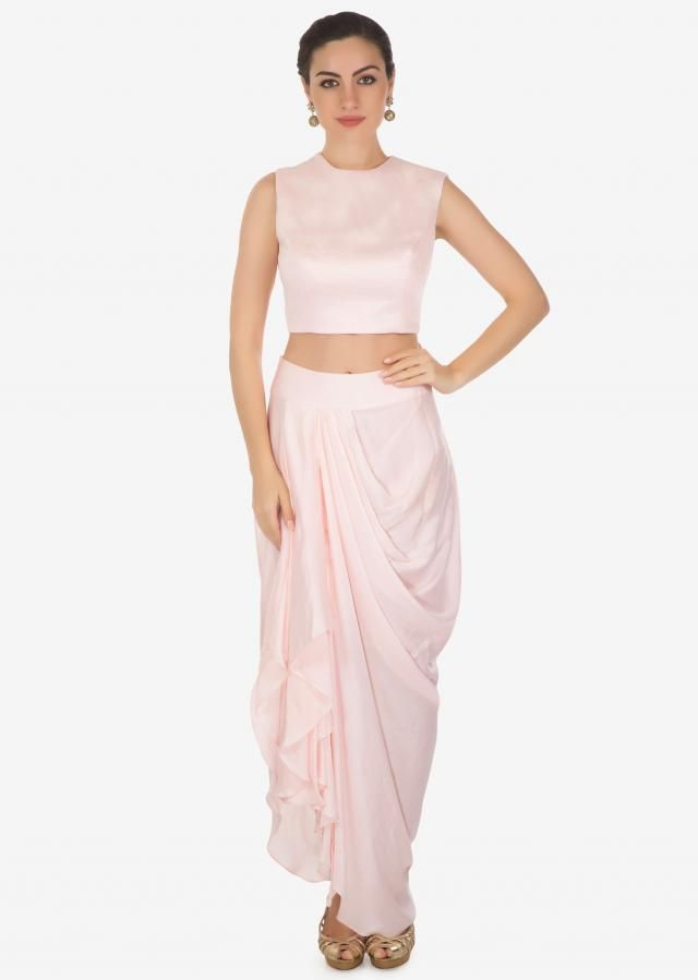 d0e777b88906 Daisy pink crop top with cowl drape skirt matched with embroidered fancy  jacket only on Kalki
