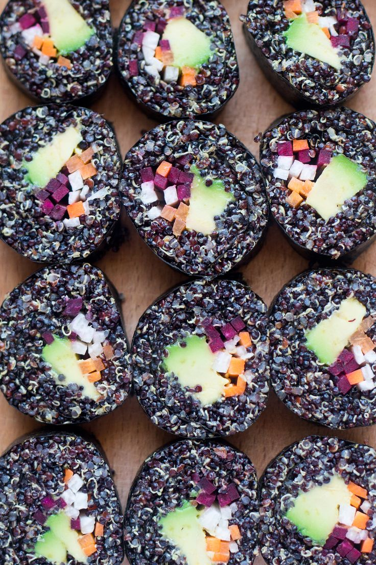 Veggie quinoa sushi is a healthier take on a traditional futomaki roll. It's easy and quick to make and tastes delicious. Naturally vegan and gluten-free.
