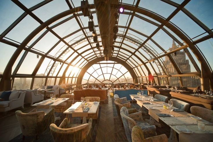 White Rabbit Restaurant & Bar, Moscow, Russia Moscow is an incredibly vibrant city with immense history and architecture. The White Rabbit offers some of the best panoramas of the bustling city below, along with delicious international fusion cuisine.