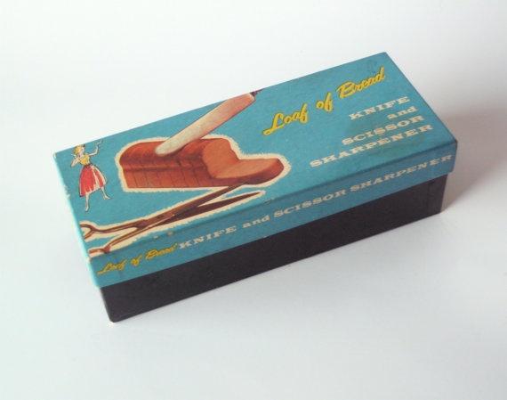 Vintage Loaf of Bread Knife and Scissor Sharpener in Original Box by PoorLittleRobin on Etsy, $12.00
