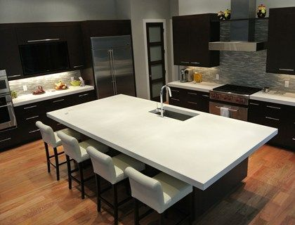 Stunning Kitchen Island Features A Seamless, White Concrete Countertop.  Hard Topix Jenison, MI