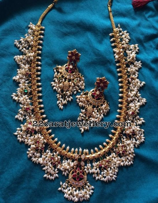 Silver Guttapusalu Necklace Heavy Chandbalis - Jewellery Designs