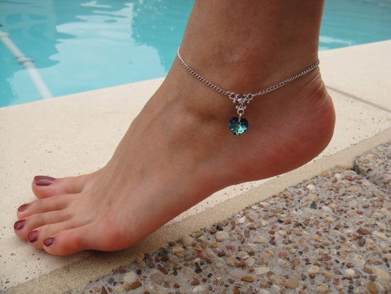 bridemaids gift?  Silver Chain Anklet with Bermuda blue Swarovski crystal heart pendant on Etsy, $8.99