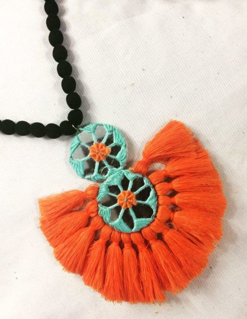 Mirror with Orange Tassels Necklace Navratri Special COlorful handmande only at Rangpitaara