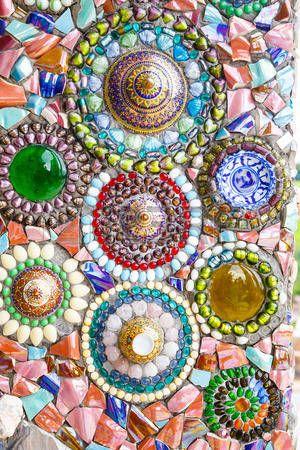 Bunte Mosaik-Kunst abstrakte Hintergrund Wand photo