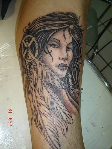 Native American Tattoos Cherokee | Tattoo Description: A black and white arm tattoo of a Native American ...