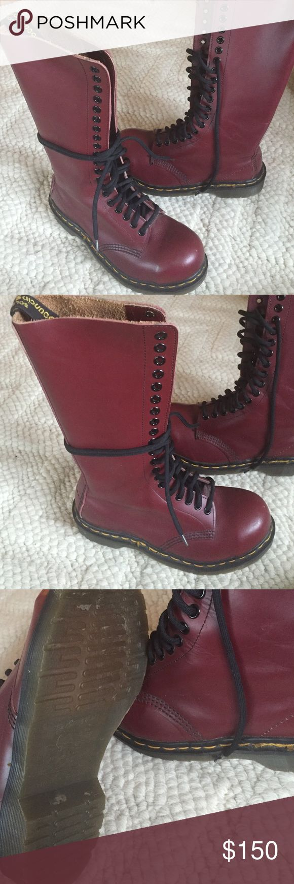 Vintage Burgundy Doc Martens Rare Vintage 20 eyelet Doc Martens with steel toe. These are true vintage docs from 1998! They have never been worn! More pics upon request. UK SZ 4/ US SZ 6 Dr. Martens Shoes Combat & Moto Boots