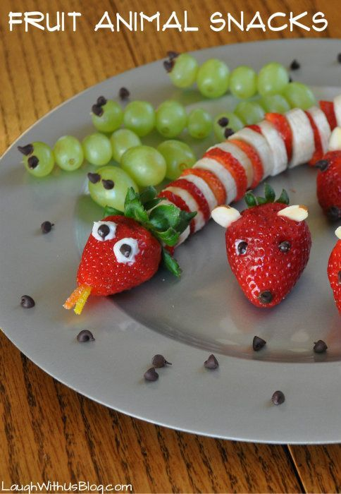 Fruit Animal Snacks so easy kids love making them! AD