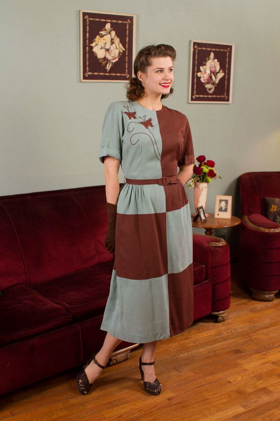 Vintage 1940s Color Block Swag Dress: 1940s Vintage Dress Dusty Blue And Chestnut Brown By FabGabs