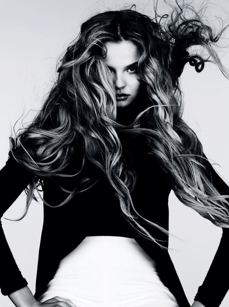 Wild Waves – Donning tousled waves by Sam McKnight, Magdalena Frackowiak gets wild for the January edition of Vogue Germany. Captured by Ben Hassett, Magdalena wows in dark and sparkling ensembles from the likes of Alexander McQueen, Gareth Pugh and David Koma selected by stylist Beth Fenton. / Makeup by Polly Osmond  Vogue Germany: Wilde Wellen