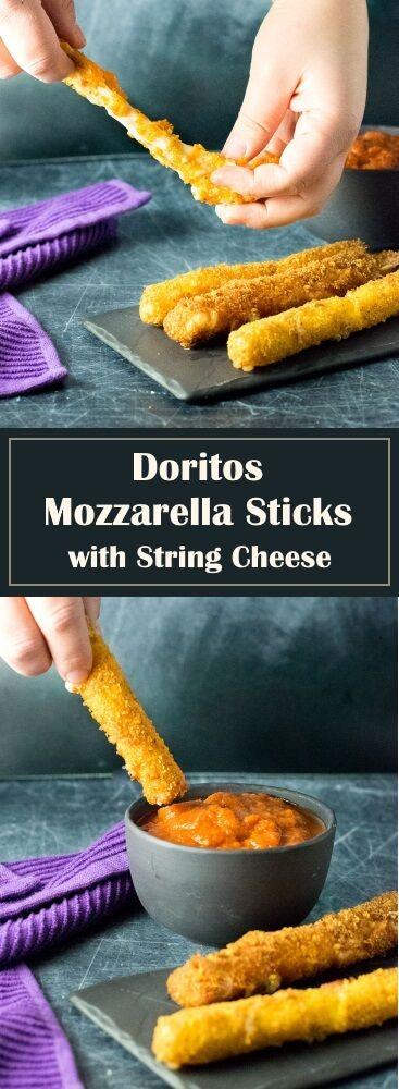 Doritos Mozzarella Sticks with String Cheese - Appetizer Recipe via @foxvalleyfoodie