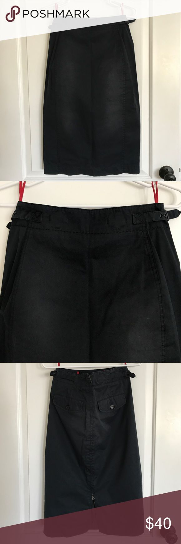 Prada Sport pencil skirt Vintage Prada Sport pencil skirt in distressed cotton.  Back zip closure and side waist belt buckle detailing.  Skirt is lined.  Back pockets.  In faded black color.  Size 40 and runs a little small.  Pre owned.  In great condition. Prada Skirts Pencil