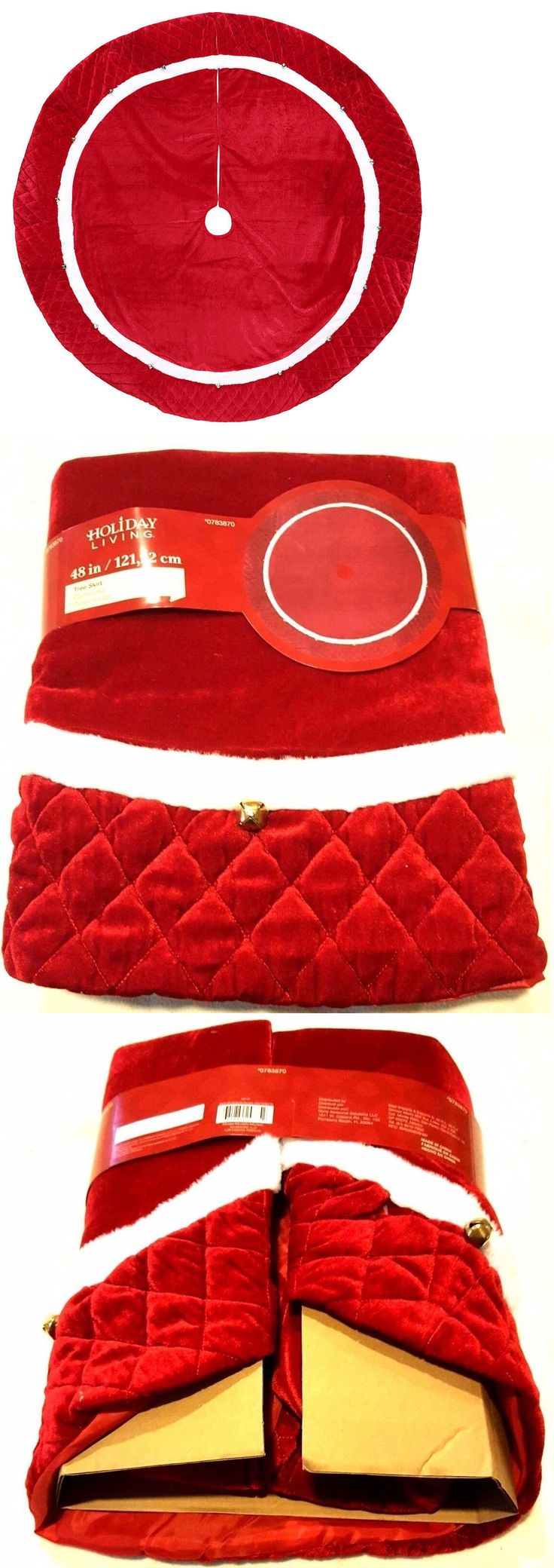 Tree Stands Skirts and Storage 166726: Holiday Living 48 Plush Red Velvet Traditional Christmas Tree Skirt W Bells -> BUY IT NOW ONLY: $39.95 on eBay!