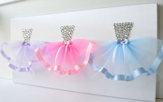 Three princess dresses canvas.  A large 12X24 princess dress wall art on a white satin upholstered canvas.