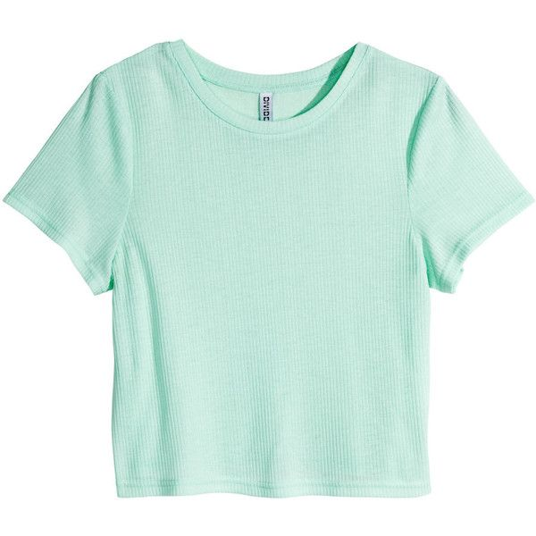 H&M Ribbed jersey top ($5.82) ❤ liked on Polyvore featuring tops, shirts, crop top, t-shirts, mint green, short-sleeve shirt, jersey crop top, mint green crop top, short sleeve tops and polyester shirt