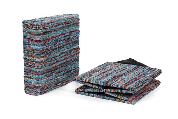 Casa Uno Wool Collapsible Storage Ottoman Foldable Seat Colorway 4 Blue - NEW