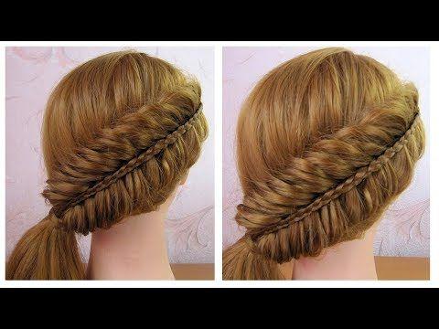 Coiffure sur le coté ✨ Tuto coiffure simple (tresse épi de blé inversée) ✨ facile à faire - YouTube