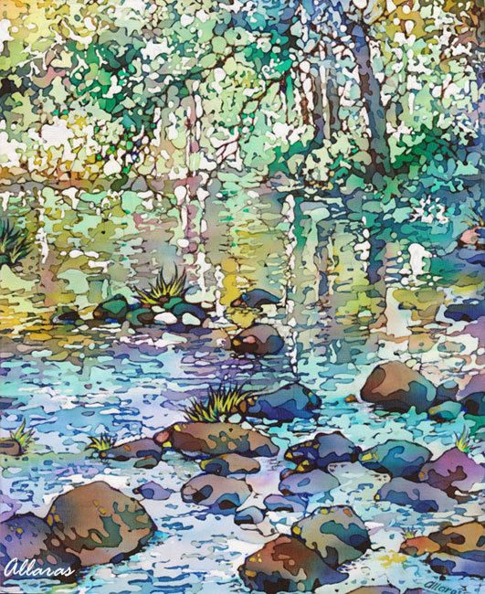 Nature. Landscape. Summer. Reflections. Painting on Silk. Original Painting. One of a kind artwork.