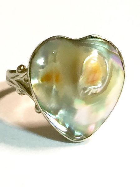 Vintage Sterling Silver with Heart Shaped Blistered Pearl Ring Size 5 3/4 #Unbranded #BlisteredPearl