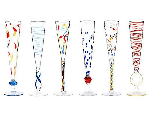 Rossini flutes set of 6 flutes champagne and - Funky champagne flutes ...