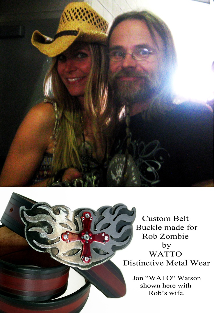 Jon WATTO Watson of WATTO Distinctive Metal Wear with Sherrie Moon(Rob Zombie's wife) and custom buckle made for the couple. www.wattoonline.com