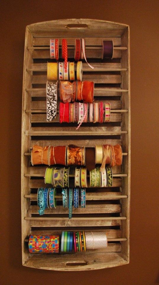 34 best diy ribbon gift wrap organizers storage ideas images on diy ribbon organizer yep you can convert an old wooden tray into a ribbon solutioingenieria Gallery