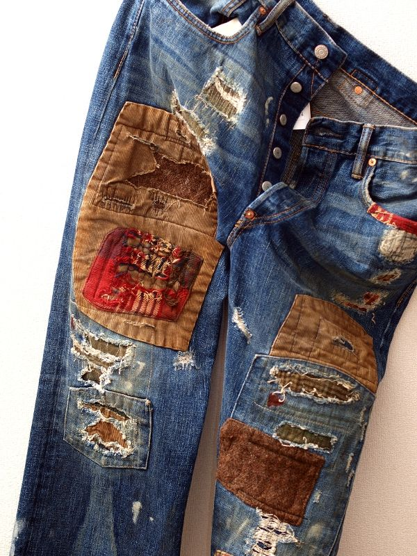 Patches. It's just holes and jeans and filling them up with fabric, right? Needle & different contrasting and deniers of thread, fabric swatches, sandpaper, a little bleach maybe?