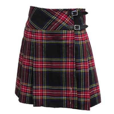 "Scottish Black Stewart 16 5"" Red Tartan Plaid Pleated Mini Kilt Skirt"