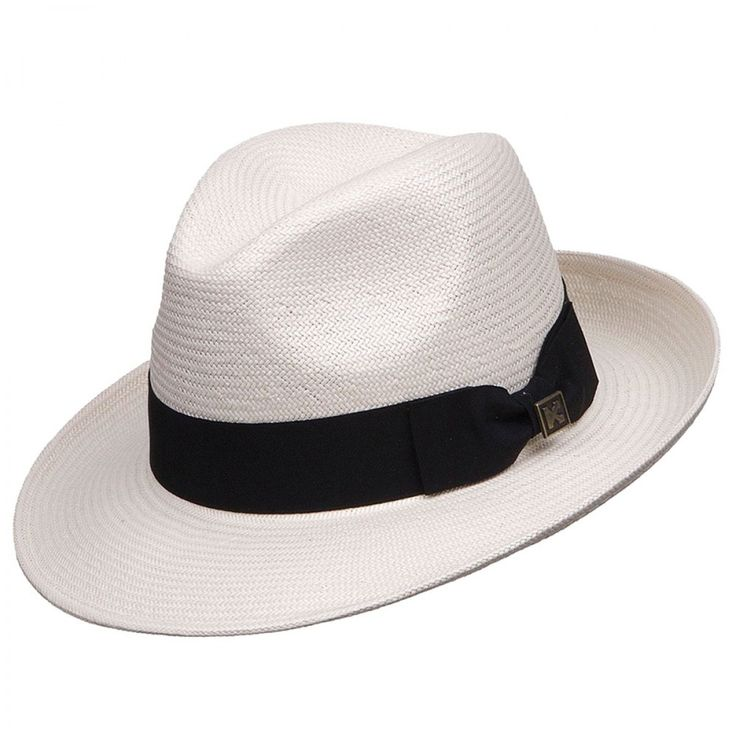 """Deadwood Trading Portobelo - Fedora Hat $49.98   This distinguished Toyo straw outback hat is great for any occasion. Weather your out golfing or strolling through the outdoor market, you'll look your best topped off with this fantastic hat from Deadwood trading. It has a soft body with a 2 1/2"""" brim and a pinchfront crown. It's trimmed with a black grosgrain ribbon hatband."""