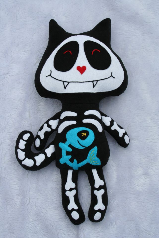Halloween Skeleton Cat with added Fish Goth Emo Teenage £30.00