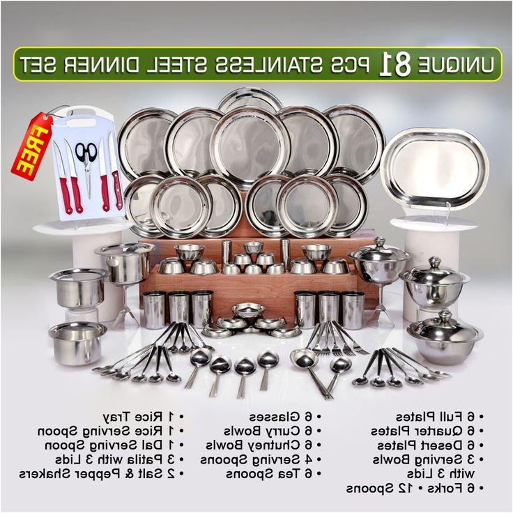 Naaptol Kitchen Set: Unique 81 Pcs Stainless Steel Dinner Set Free Knife Set
