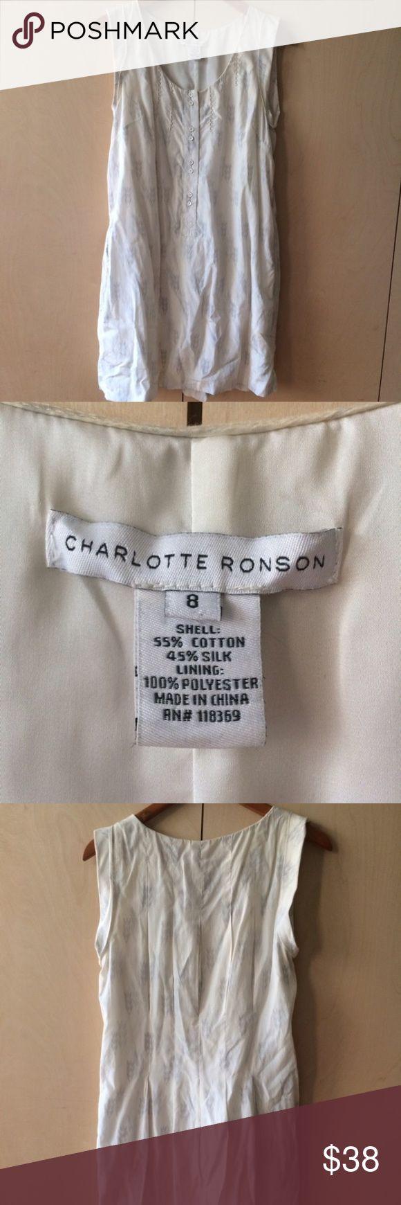 Charlotte Ronson Tank Dress size 8 silk & cotton Charlotte Ronson Tank Dress size 8 silk & cotton 2 side pockets. Loops for belt. Charlotte Ronson Dresses Mini