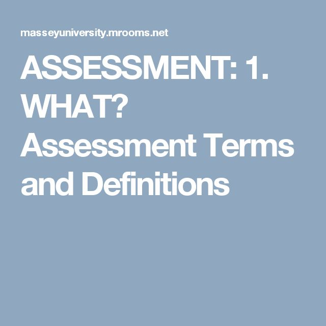 ASSESSMENT: 1. WHAT? Assessment Terms and Definitions