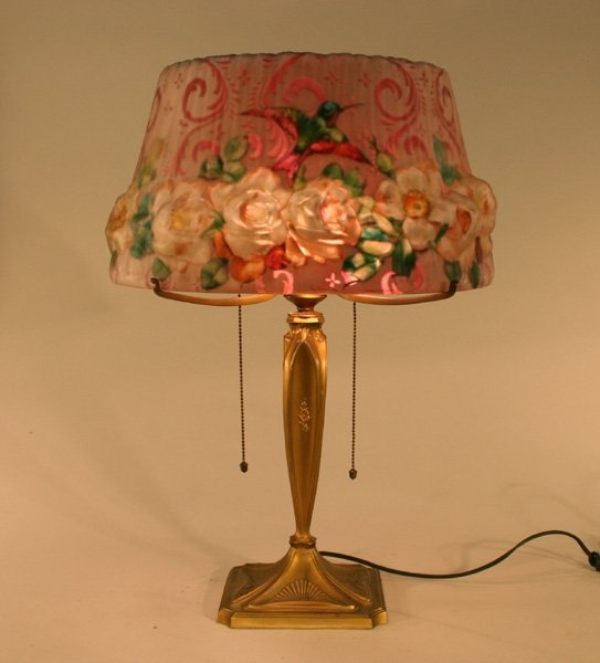 Pairpoint puffy reverse painted lamp hummingbird ro